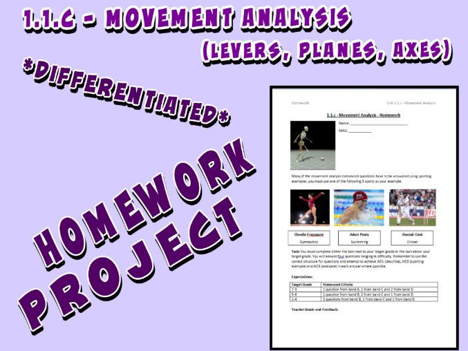 OCR GCSE PE 9-1 (2016) 1.1.c - Homework Project - Movement Analysis (Lever, Planes, Axes)