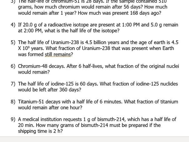 IGCSE Physics: Half-Life Calculations Worksheet (With Worked Solutions)