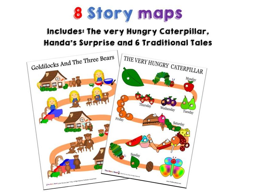 8 Story maps: 6 traditional tales + The Very Hungry Caterpillar and Handa's surprise