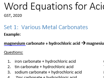 Writing word equations for acids reactions practice