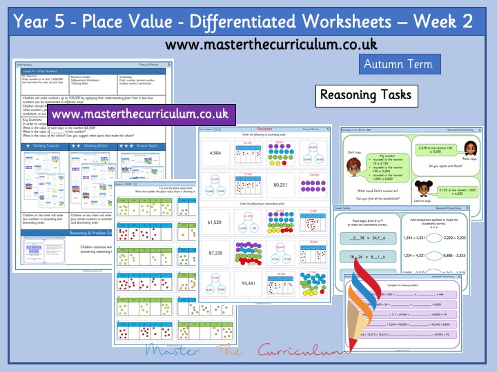Year 5- Week 2 Place Value Differentiated Sheets- White Rose Style