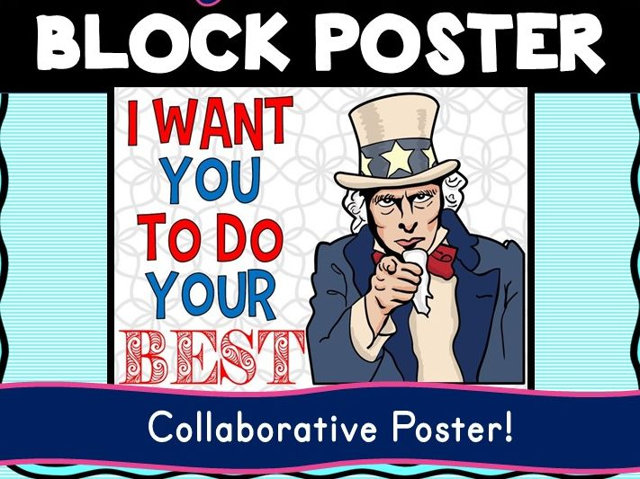 Growth Mindset Collaborative Poster! Team Work - Uncle Sam