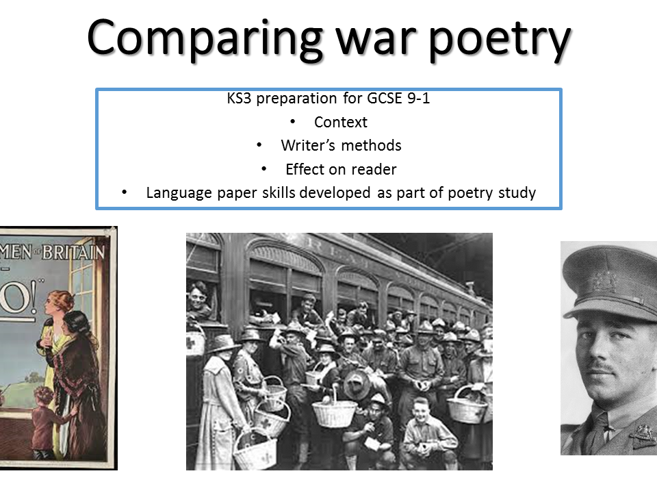 KS3 comparing war poetry -develop skills for 9-1 -  Who's for the game Jessie Pope & Wilfred Owen The Send off