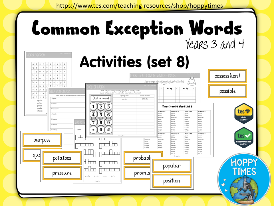 Year 3 / 4 Common Exception Words Spelling Activities (Set 8)