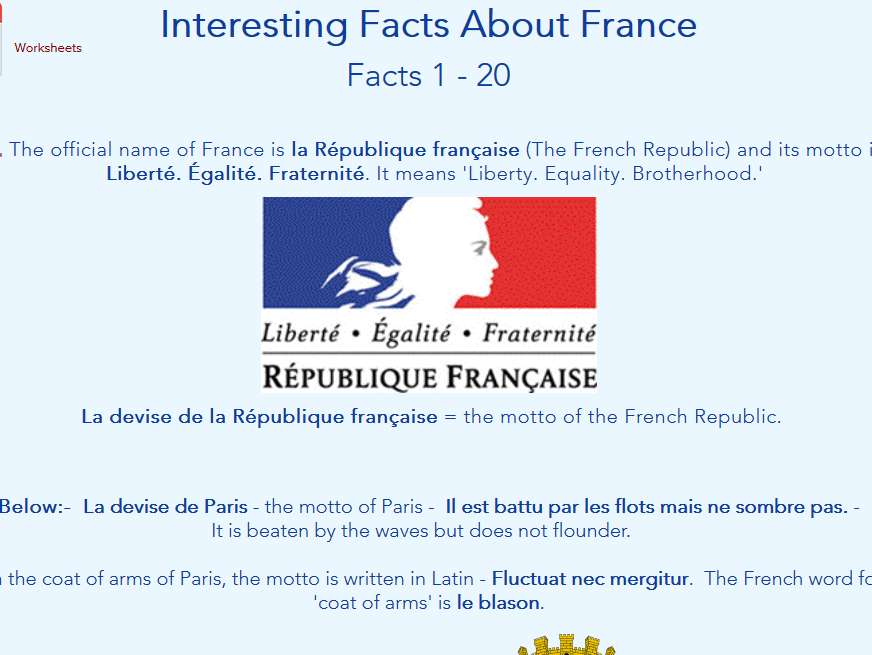 Facts about France - Worksheets + Web Pages