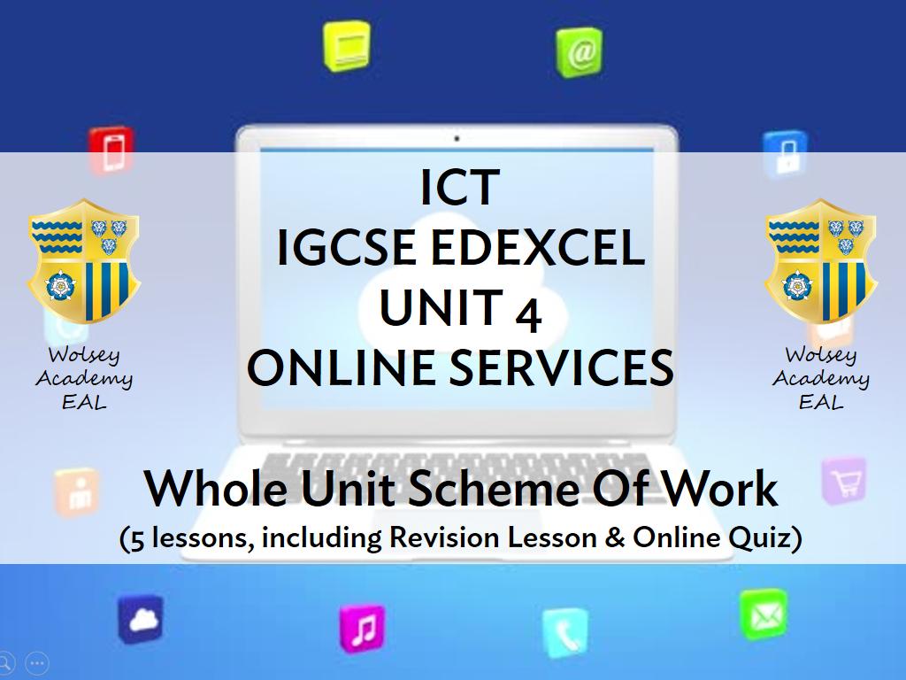 ICT IGCSE EDEXCEL - UNIT 4 - COMPLETE SOW