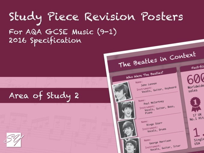 Study Piece Revision Posters for AQA GCSE Music (2016 Specification) - Area of Study 2