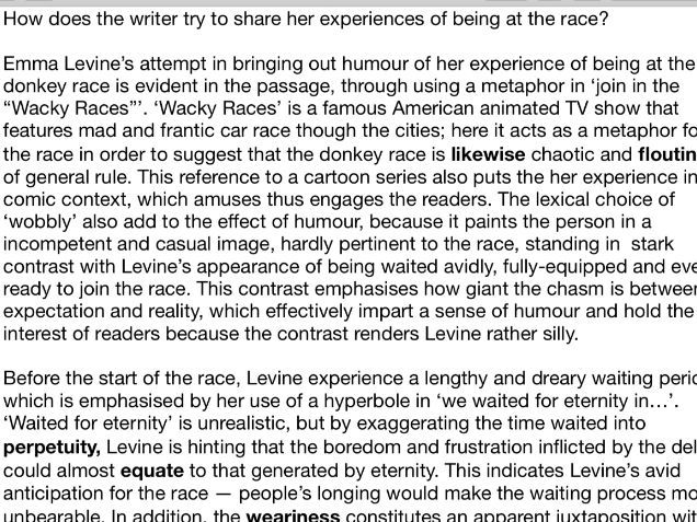 Essay/analysis of A Game of Polo with A Headless Goat by Emma Levine IGCSE English Language A
