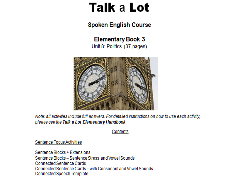 30 Hours Of Teaching Resources -  Talk a Lot  Spoken English Course  Elementary  Politics (37 pages)