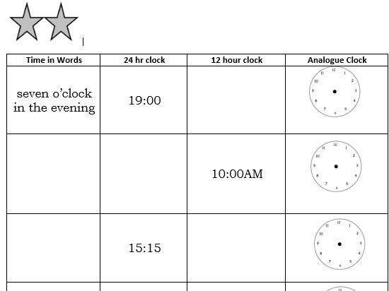 Converting Time- Differentiated Worksheets