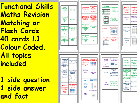 Functional Skills L1 Revision Questions and Facts Cards. Matching or Flash cards. 40 cards.