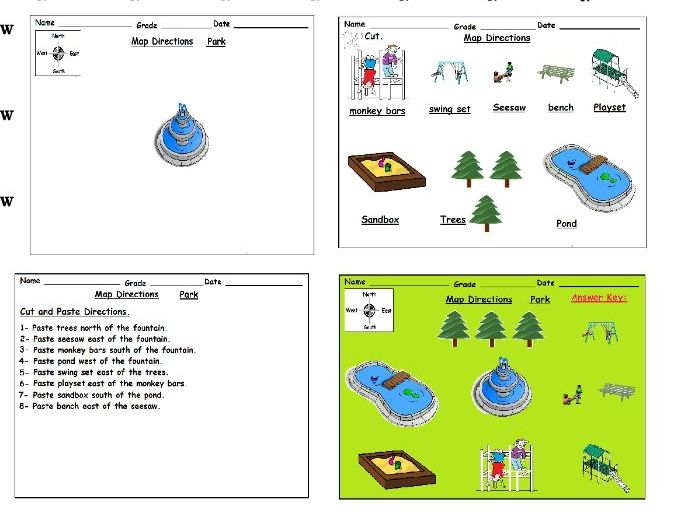 Cardinal Directions Cut & Paste Activity Worksheets: