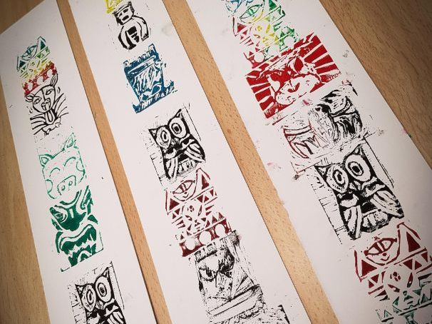 Totem Poles, Lino Carving and Printing