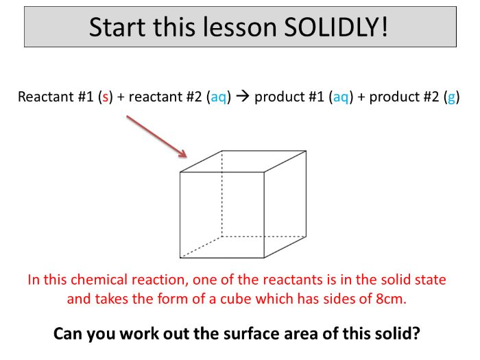 Surface area and the rate of reaction
