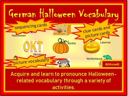 German: Halloween Vocabulary Activity Pack - 42 illustrated items