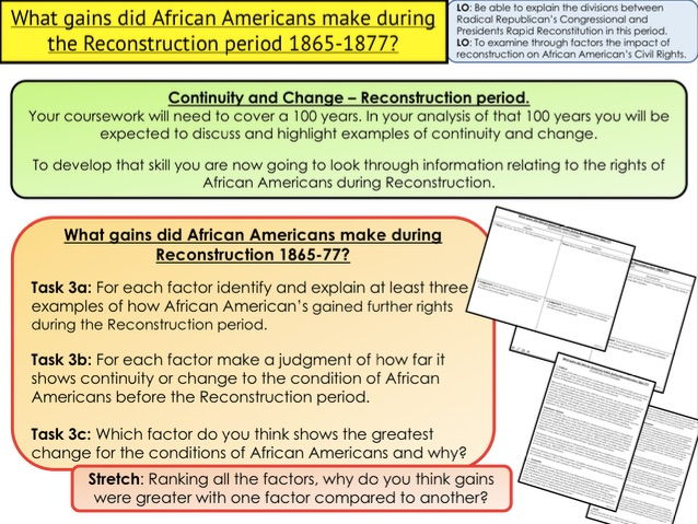 Civil Rights What gains did African Americans make during the Reconstruction period 1865 1877?