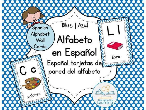 Spanish Alphabet Wall Cards BLUE option