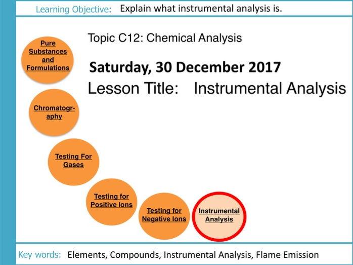 AQA GCSE: C12 Chemical Analysis: L6 Instrumental Analysis