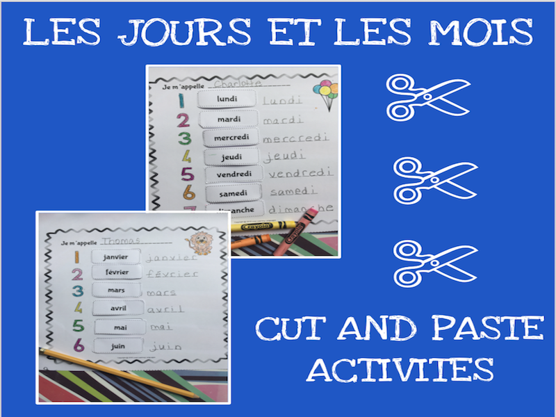 French months and days cut and paste activity - Les jours et les mois