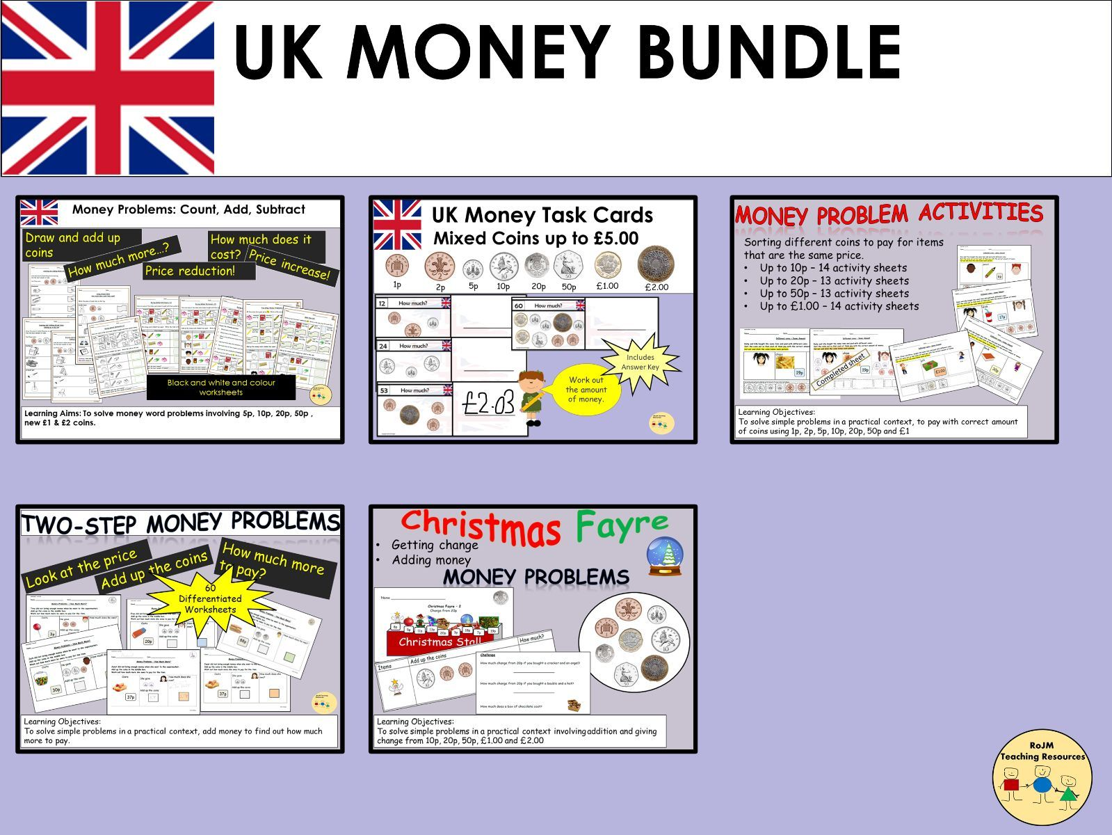 UK British Money Sterling Bundle Worksheets Task Cards