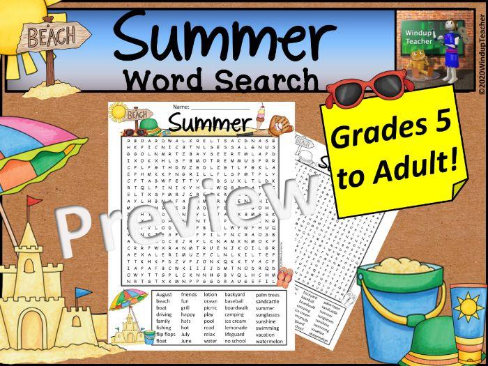 Summer Word Search *Hard*
