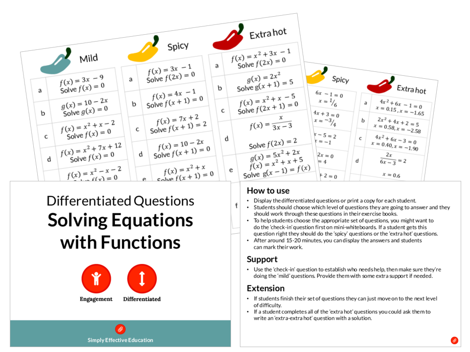 Solving Equations with Functions (Differentiated Questions)
