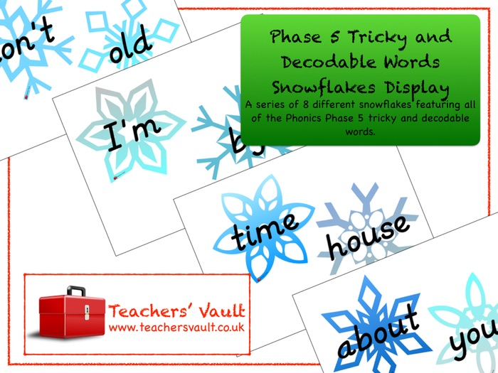 Phase 5 Tricky and Decodable Words Snowflakes Display