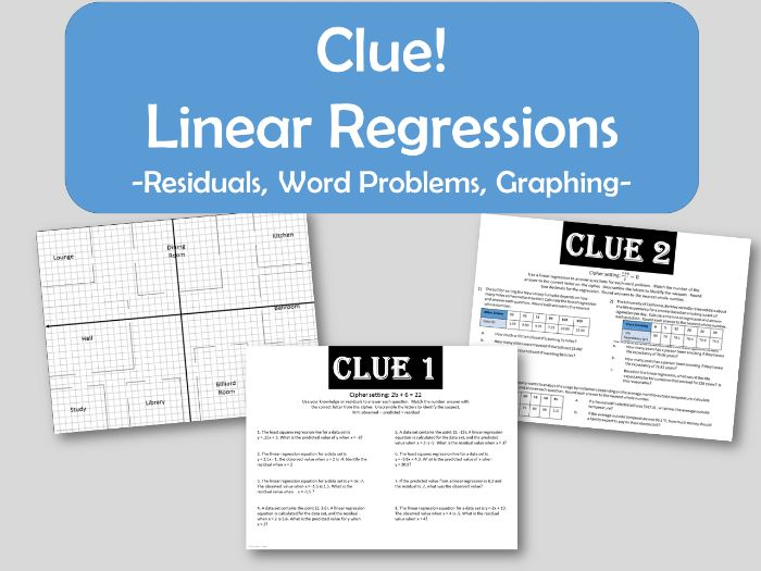 Clue! Linear Regression - Residuals, Word Problems, Graphing