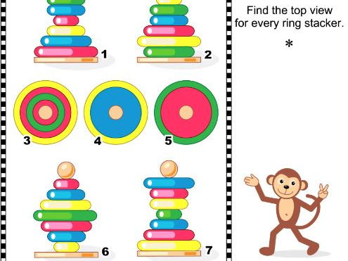 Find the Top View Visual Math Puzzle with Ring Stackers