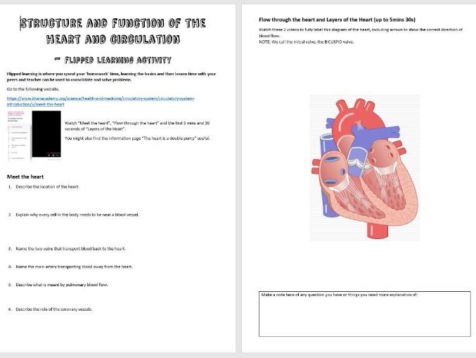 As Biology Heart Flipped Learning Activity By Mrsb Teaching