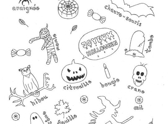 French Halloween color and vocabulary sheet fun no prep worksheet
