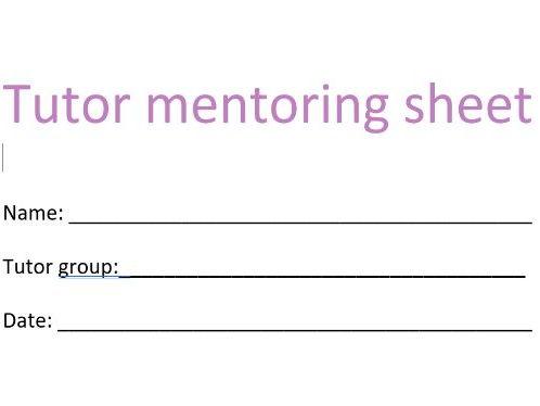 Tutor mentoring sheet