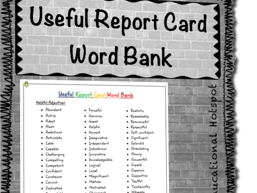 FREEBIE Useful Report Card Word Bank