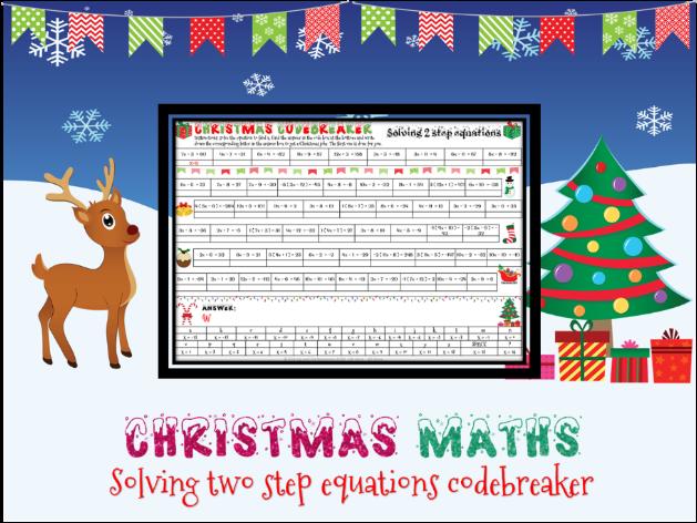 Christmas maths: solving 2 step equations