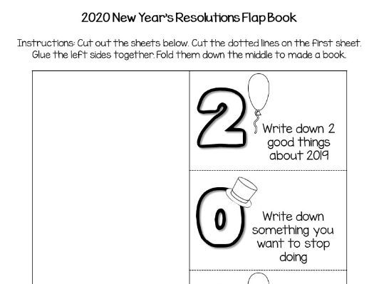 2020 New Year S Resolutions Flap Book Craft Teaching Resources