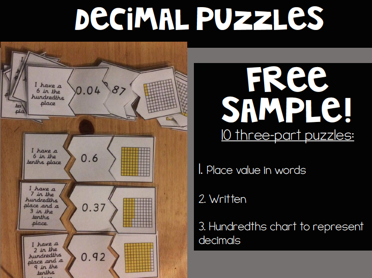 FREE Decimal 3 Part Matching Puzzles (set of 10)