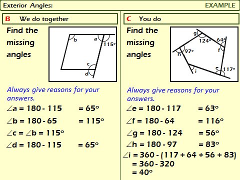 Polygons: Exterior Angles of Polygons