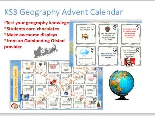 Geography KS3 Christmas advent calendar