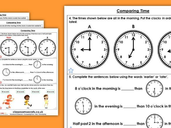 Year 1 Comparing Time Summer Block 6 Maths Homework Extension