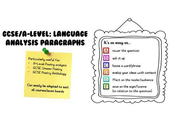 Language Analysis Paragraphs: ABCDEF structure (GCSE/A-Level)