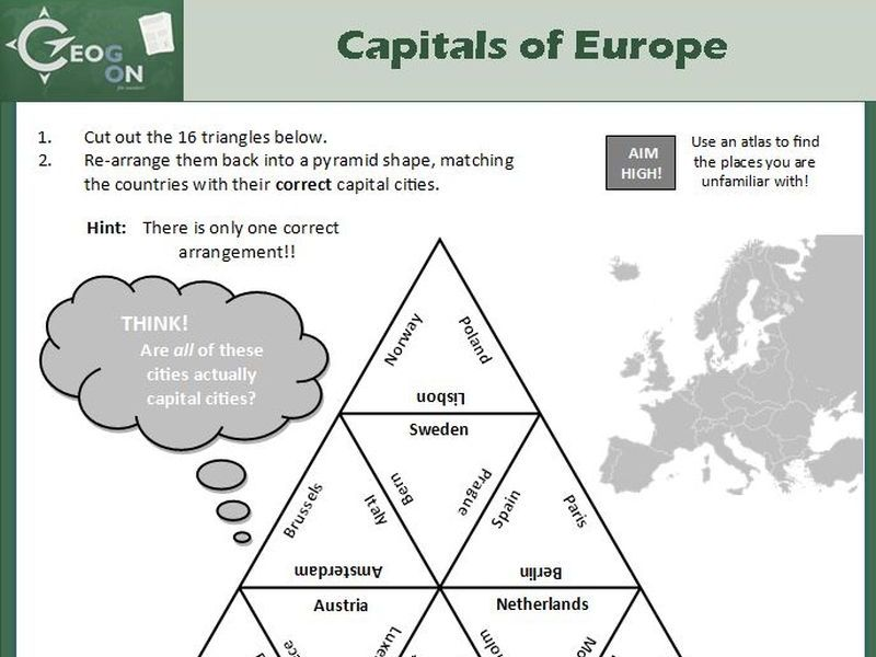 Capitals of Europe Triangle Puzzle