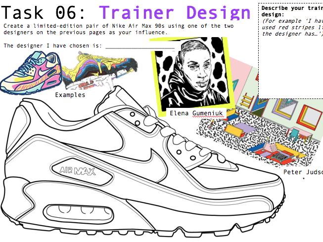 Art/Graphic Design Worksheets X3 - Trainer Design SELF-DIRECTED