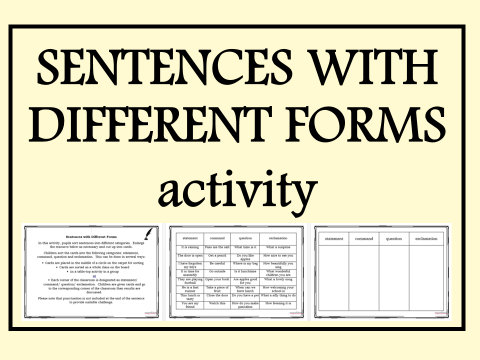 Sentences with Different Forms Activity – Command, Exclamation, Question, Statement