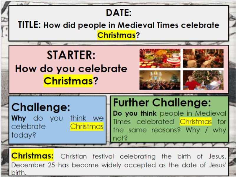 KS3 Medieval Christmas Lesson: How did people in the Medieval Period celebrate Christmas?