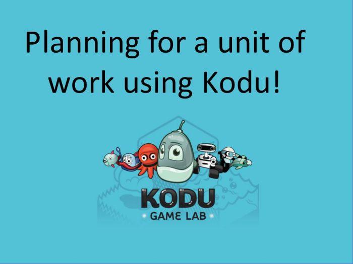 Computing: Kodu Planning