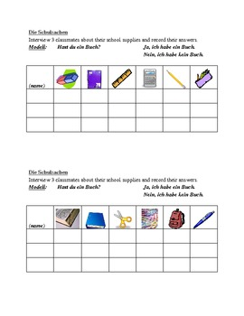 Schulsachen (School supplies in German) Speaking activity