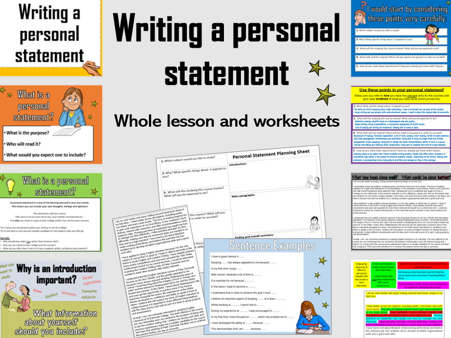 How to write a personal statement for college (Whole lesson and planning sheet) KS4