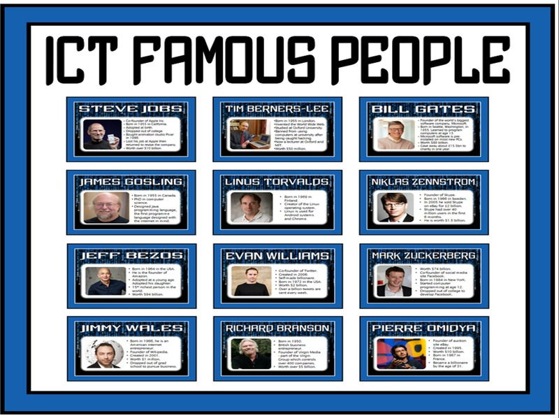 IT ICT FAMOUS PEOPLE POSTERS - COMPUTERS COMPUTING DISPLAY