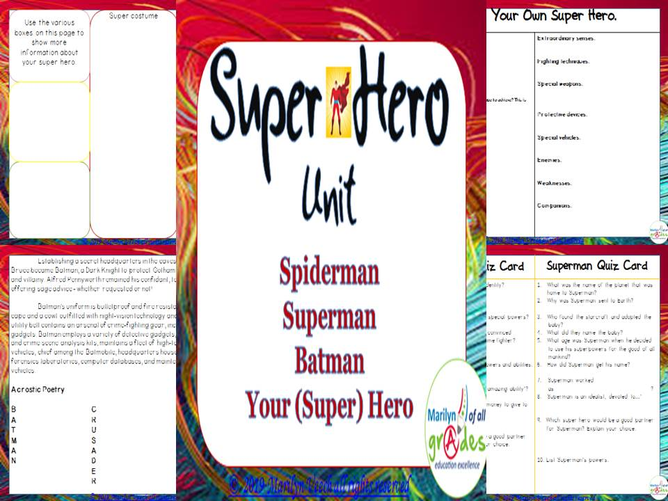 Super Heroes Themed Unit - Activities & Worksheets