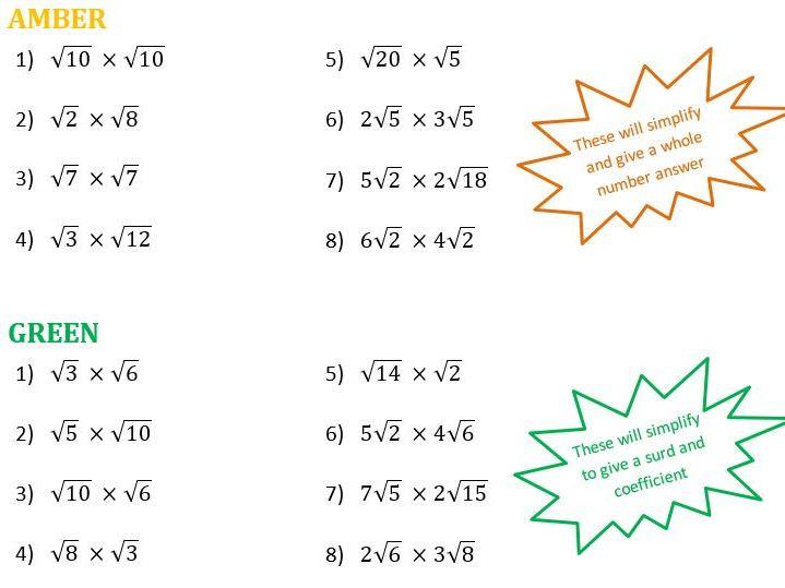 Multiplying Surds Differentiated Worksheet